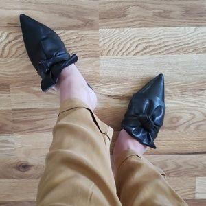 ZARA Black Leather Bow Mule Slide Euro Size 37